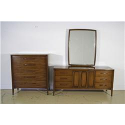 A Contemporary two piece walnut bedroom set by Broyhill,