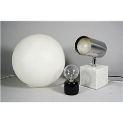 A collection of mid-century modern table lights,