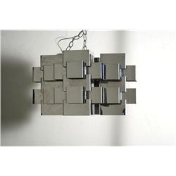 A Contemporary chrome chandelier attributed to C. Jere,