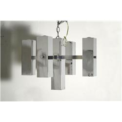 A Contemporary chrome light fixture, designer unknown.