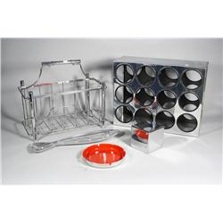 A collection of contemporary chrome decorative items,