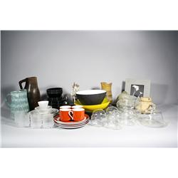 A collection of mid-century modern glass and ceramic decorat