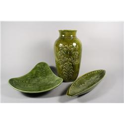 M. Abolina, Vase and two trays, Stoneware art pottery,