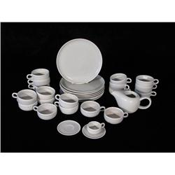 A set of Russel Wright American modern gray glaze dinnerware