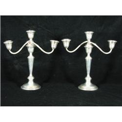 A pair of 20th Century American silver three-light socket ca