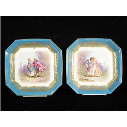 Two 19th Century Sevres French painted porcelain plates,