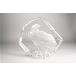 An Eagle glass sculpture.