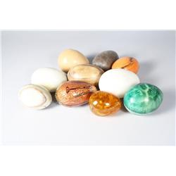 A collection of five marble specimen egg forms,