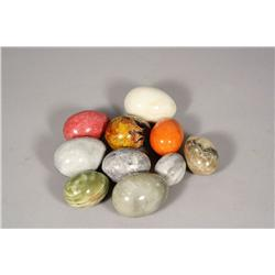 A collection of ten marble specimen egg forms.