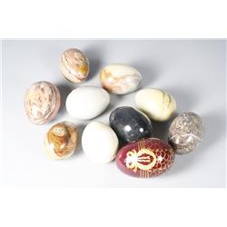A collection of nine marble specimen egg forms,