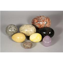 A collection of five egg form marble specimens,