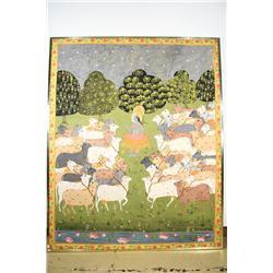 Indian School, Deities and Cows, Watercolor gouache.