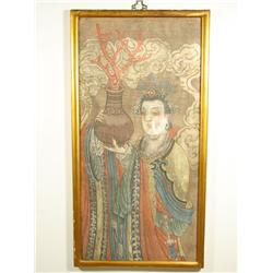 Artist Unknown, Chinese Portrait of a Goddess with Vase and