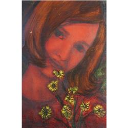 Lessard, (20th Century) Girl with Flowers, Oil on art paper,