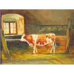 Artist Unknown, (20th Century) Portrait of a Cow, Oil on boa