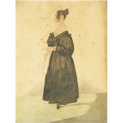 Richard Dighton (British, 1785-1880) Portrait of a Lady, Wat