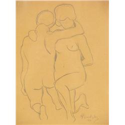 Horace Brodzky (Australian, 1885-1969) Two Nudes, Drawing on