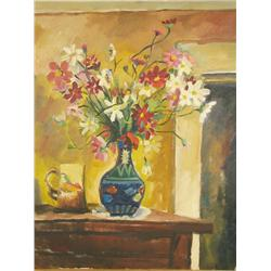 Artist Unknown, Floral Still Life, Oil on canvas.