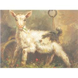 Burick (20th Century) Portrait of a Lamb, Oil on canvas,