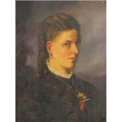 19th Century English School, Portrait of a Lady, Oil on canv