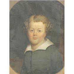 19th Century American School, Portrait of a Boy, Oil on canv
