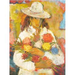 """Wadie El Mahdi (1921-2001) """"Jeune Fille aux Fleurs"""" Oil on c"""