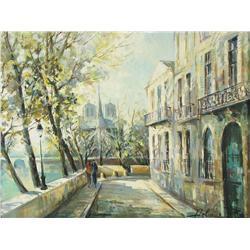 Lucien Delarue (French, b.1925) French Street Scene, Oil on