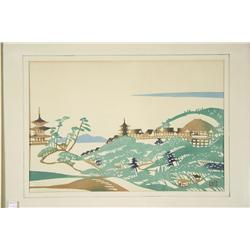 Mikumo Mukuhansha, Village Scene, Woodblock print,