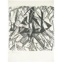 "Lyonel Feininger (American, 1871-1956) ""Barke und Brigg auf"