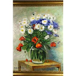M. Bilinska, Floral Still Life, Oil on Canvas,
