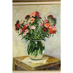 M. Bilinska, Gozdziki Kamienne, Floral Still Life, Oil on Ca