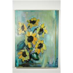 Lucia Peka (Latvia, 1912-1991) Flowers, Still Life Oil on Ca