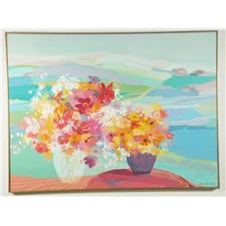 Rosette Volk, Floral with Landscape, Oil on canvas, signed l