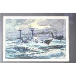 Kinley Shogren (American, 1924-1991) Ships at Sea, Watercolo
