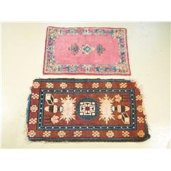 A 20th Century Kirman mat and a Chinese mat.