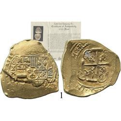"""Mexico City, Mexico, cob 8 escudos, 1711, oXMJ, """"1712 style"""" cross."""