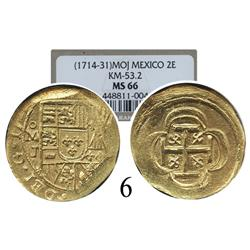 Mexico City, Mexico, cob 2 escudos, 17(14)J, encapsulated NGC MS-66.