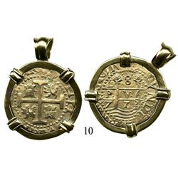 Lima, Peru, cob 8 escudos, 1712M, mounted in 18K yellow-gold pendant.
