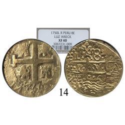 Lima, Peru, cob 8 escudos, 1750R, encapsulated NGC XF-40.