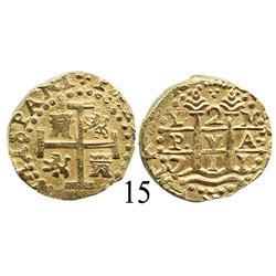 Lima, Peru, cob 2 escudos, 1711M, choice grade.