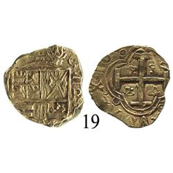 Bogotá, Colombia, cob 2 escudos, Charles II, 166?R.