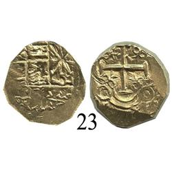 Bogotá, Colombia, cob 2 escudos, posthumous Charles II, rare error struck from 1E dies.