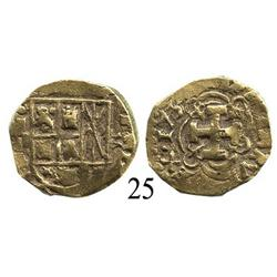 Bogotá, Colombia, cob 2 escudos, 1734, mintmark F to left, assayer M to right.