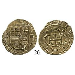 Seville, Spain, cob 4 escudos, Philip II, assayer Gothic P to left.