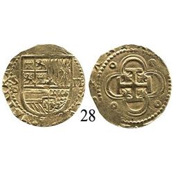 Seville, Spain, cob 2 escudos, Philip II, assayer Gothic P to left.