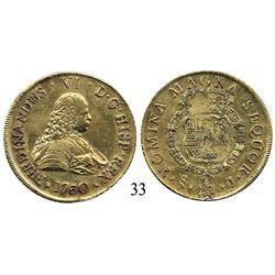 Santiago, Chile, bust 8 escudos, 1750J.