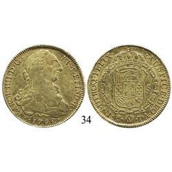 Santiago, Chile, bust 8 escudos, Charles IV, 1792DA.