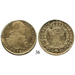 Santiago, Chile, bust 8 escudos, Ferdinand VII (bust of Charles IV), 1812FJ, lustrous XF with scratc