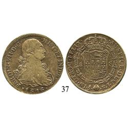 Santiago, Chile, bust 8 escudos, Ferdinand VII (bust of Charles IV), 1816FJ.