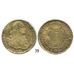 Santiago, Chile, bust 8 escudos, Ferdinand VII (bust of Charles IV), 1817FJ.